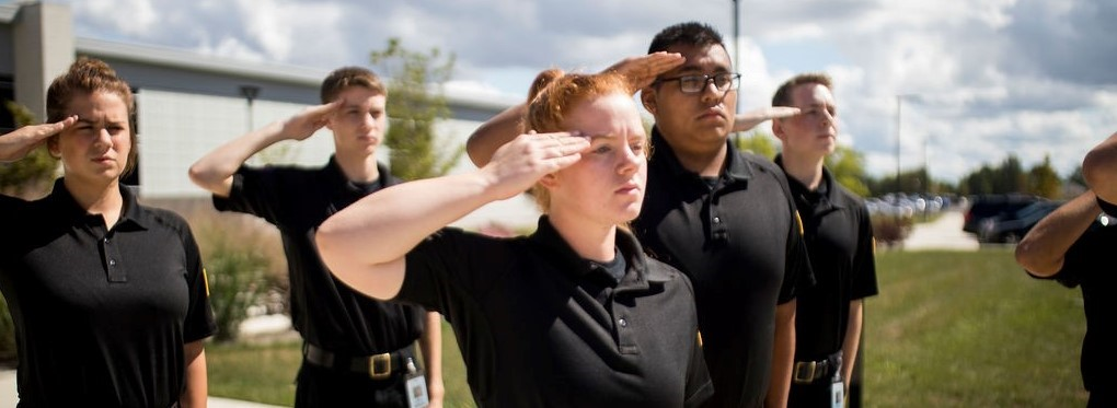 Students saluting